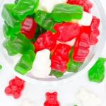 Green Red and White Gummy Bears